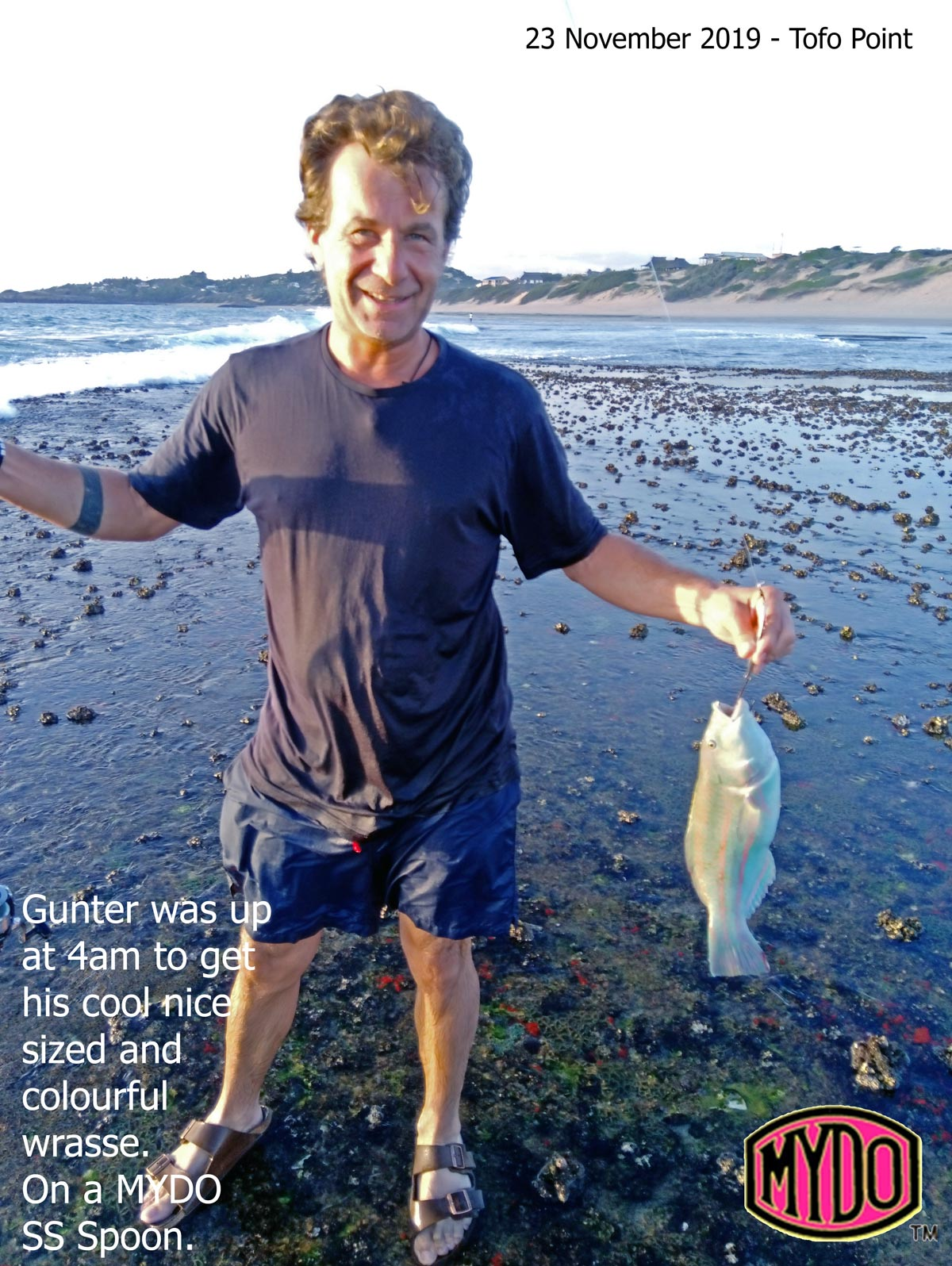 Gunter and his lekker wrasse caught at Tofo with a Mydo SS Spoon